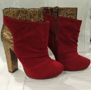 Michael Antonio red suede platform booties. Size 8